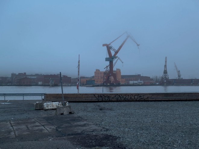 Gothenburg harbor, cranes.